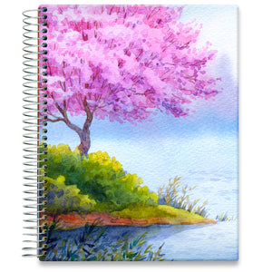 Planner 2021-2022 • April 2021 to June 2022 Academic Year • 8.5x11 Hardcover • Pink Blossoms Island