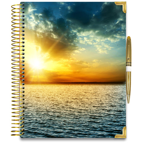 NEW: April 2020-2021 Planner - Gold Edition - Ocean Sunset-Office Product-Tools4Wisdom