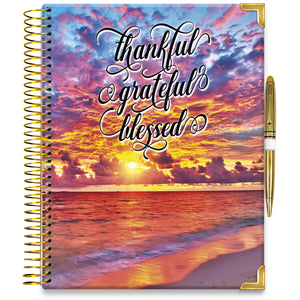 NEW: APRIL 2021-2022 Planner - 15M Academic Year - Pro-Edition - 8.5x11 Hardcover - Warm Sunset with Quote