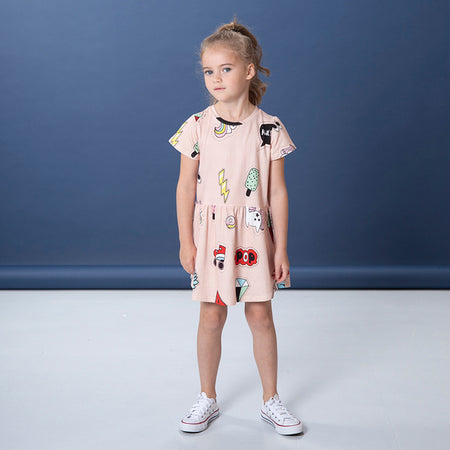 Littlehorn Badges Dress - Powder Pink