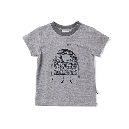 Minti Hello Goodbye Monster Tee - Light Grey Motley