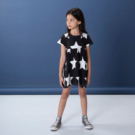 Littlehorn Stars Dress - Black