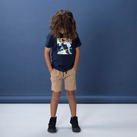 Littlehorn Camo Square Tee - Dark Blue