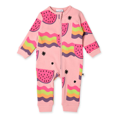 Minti Watermelon Rainbows Furry Zippy Suit