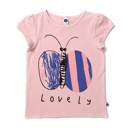 Littlehorn Lovely Butterfly Tee - Powder Pink