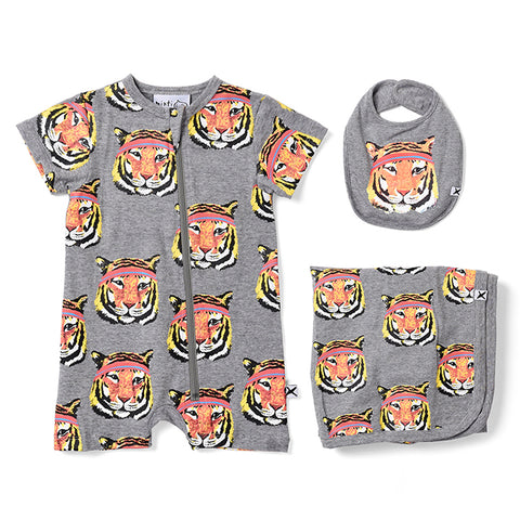 Minti Sporty Tigers Gift Pack - Light Grey Motley
