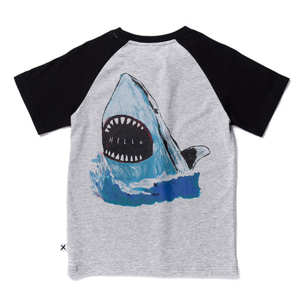 Minti Painted Shark Raglan Tee - Grey Marle/Black