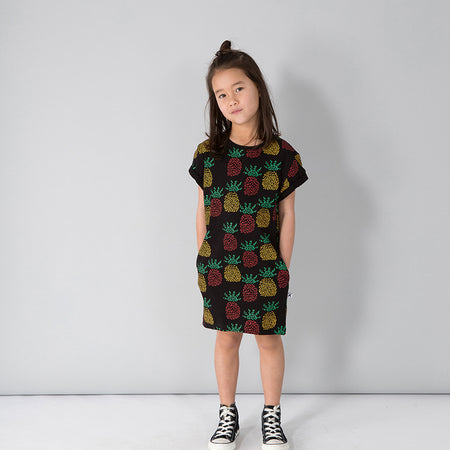 Minti Pineapples Tee Dress - Black