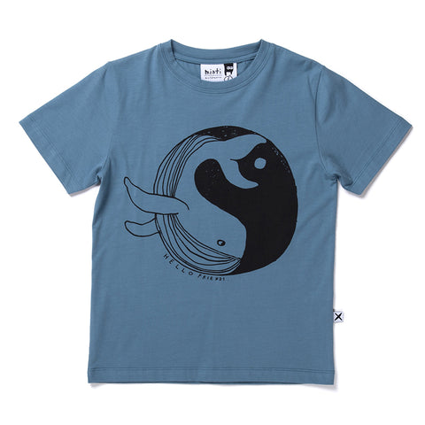 Minti Whale World Tee - Steel Blue