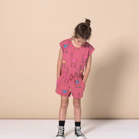 Minti Skating Llamas Playsuit - Rose