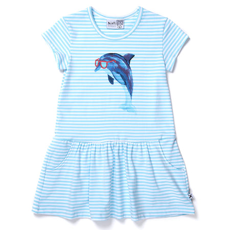 Minti Painted Dolphin Dress - Light Blue Stripe