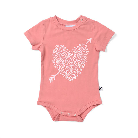 Minti Squiggle Heart Onesie - Rose