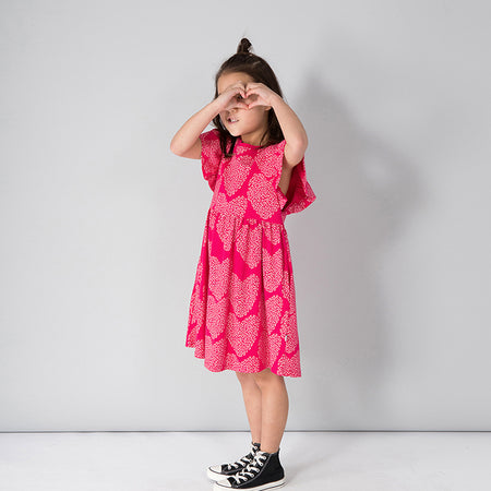 Minti I Heart Hearts Dress - Raspberry