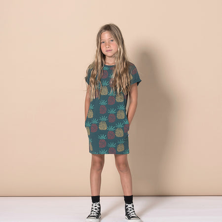 Minti Pineapples Tee Dress - Forest