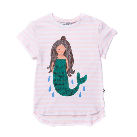 Minti Sleepy Mermaid Tee - Ballet Stripe