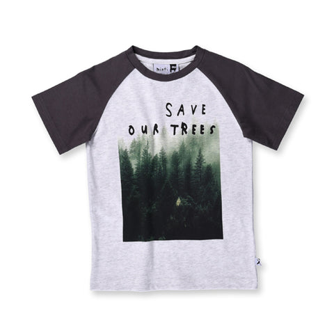 Minti Save Our Trees Raglan Tee - White/Dark Grey
