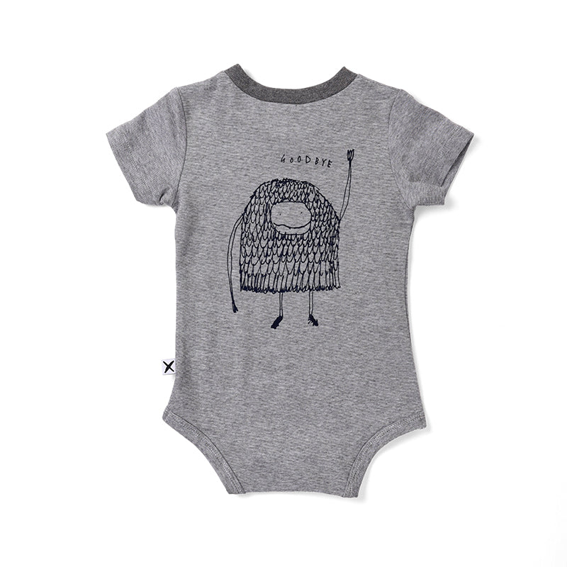 Minti Hello Goodbye Monster Onesie - Light Grey Motley