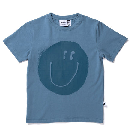Minti Smiley Tee - Steel Blue
