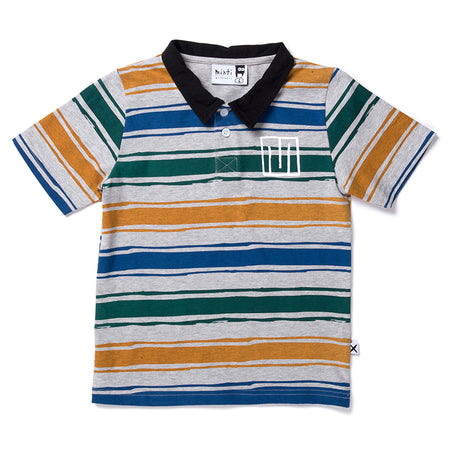 Minti Chalk Stripe Rugby Tee - Grey/Orange/Green