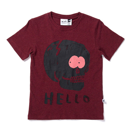 Minti Sneaky Skull Tee - Burnt Red Marle