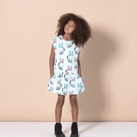 Minti Cool Cats Domed Dress - Light Blue