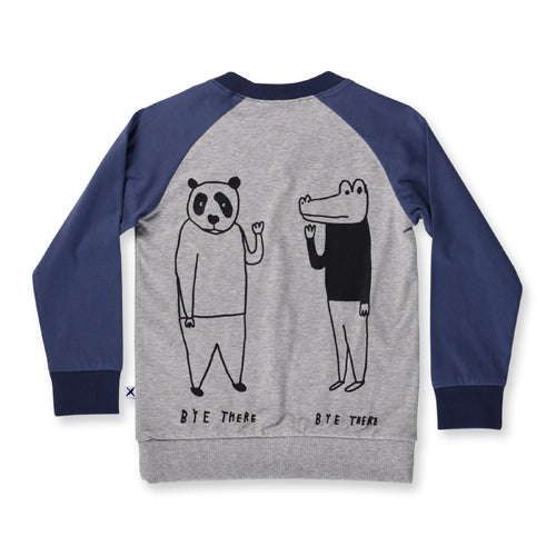 Minti Hey There Bye There Crew - Grey/Midnight