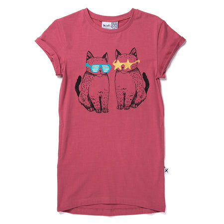 Minti Cool Cats Tee Dress - Rose