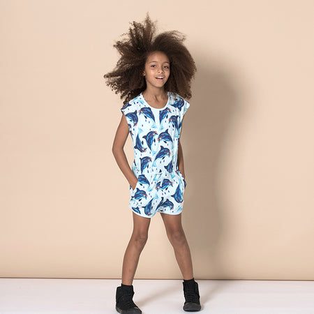 Minti Dolphin Besties Playsuit - Light Blue