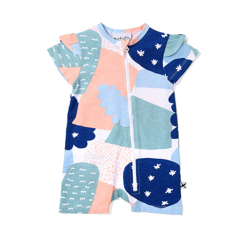 Minti Cosmic Frilly Zippy Suit - Multi