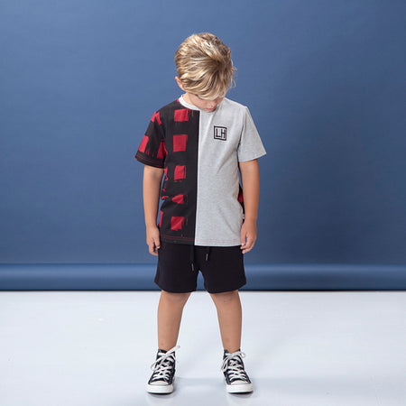 Littlehorn Gingham Cut Tee - Dark Red/Marle