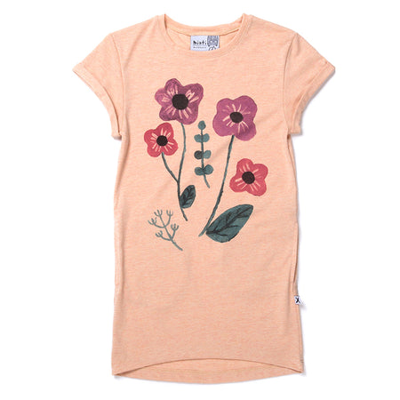 Minti Bouquet Tee Dress - Apricot Marle