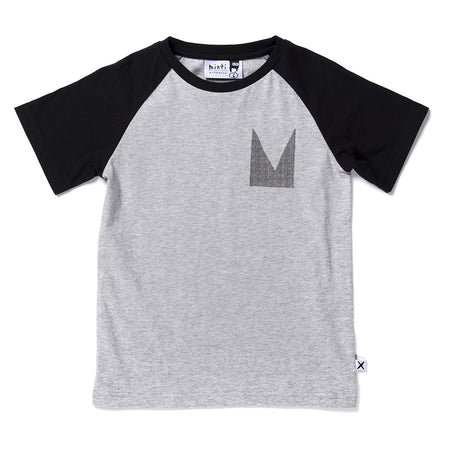 Minti Sporty Tiger Raglan Tee - Grey Marle/Black