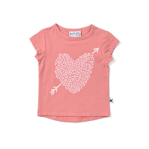 Minti Squiggle Heart Tee - Rose