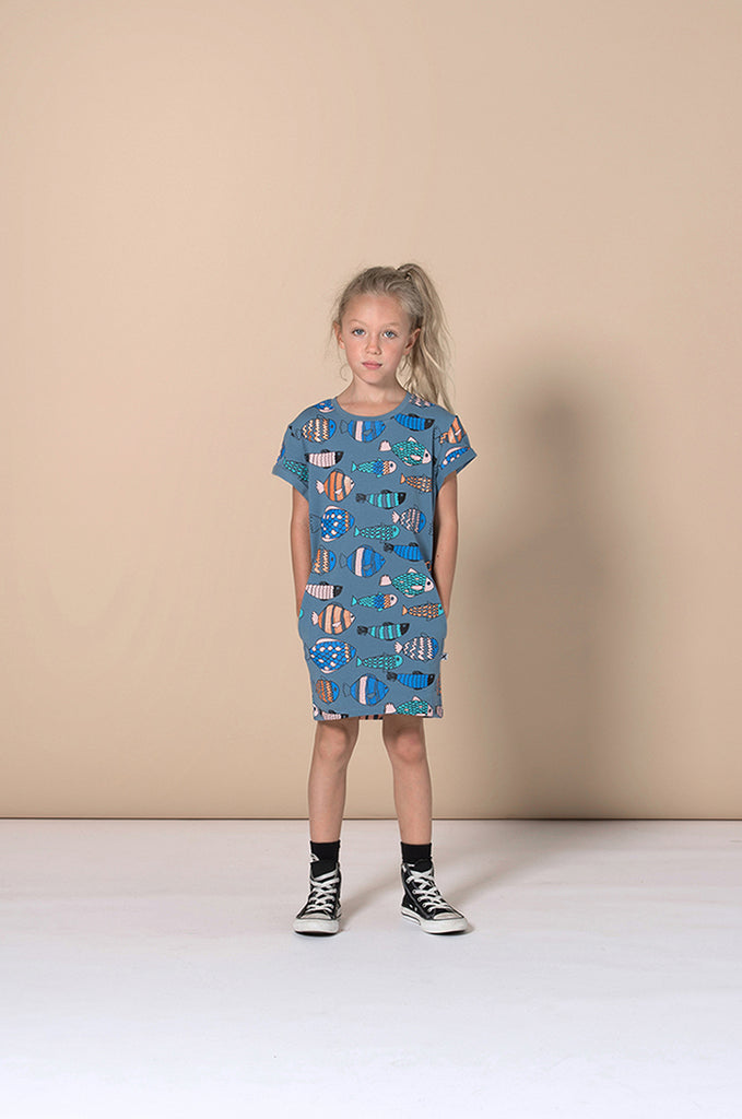 Minti Fish Life Tee Dress - Muted Blue