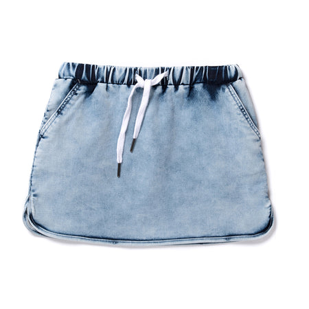 Minti Frankie Denim Skirt - Bleached Blue