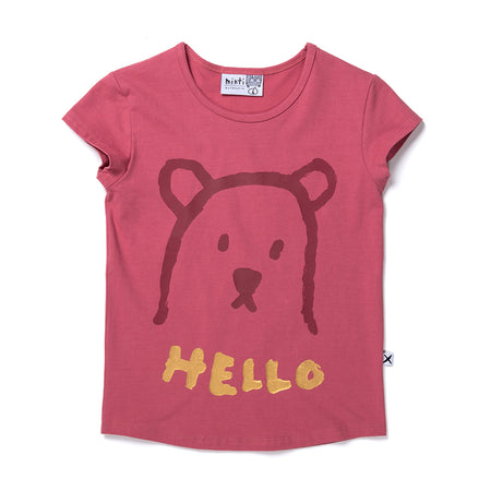 Minti Hello Bear Tee - Rose