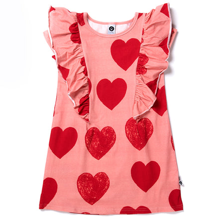 Littlehorn Hearts Dress - Dark Pink