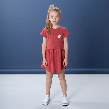 Littlehorn Rainbow Badge Dress - Cherry
