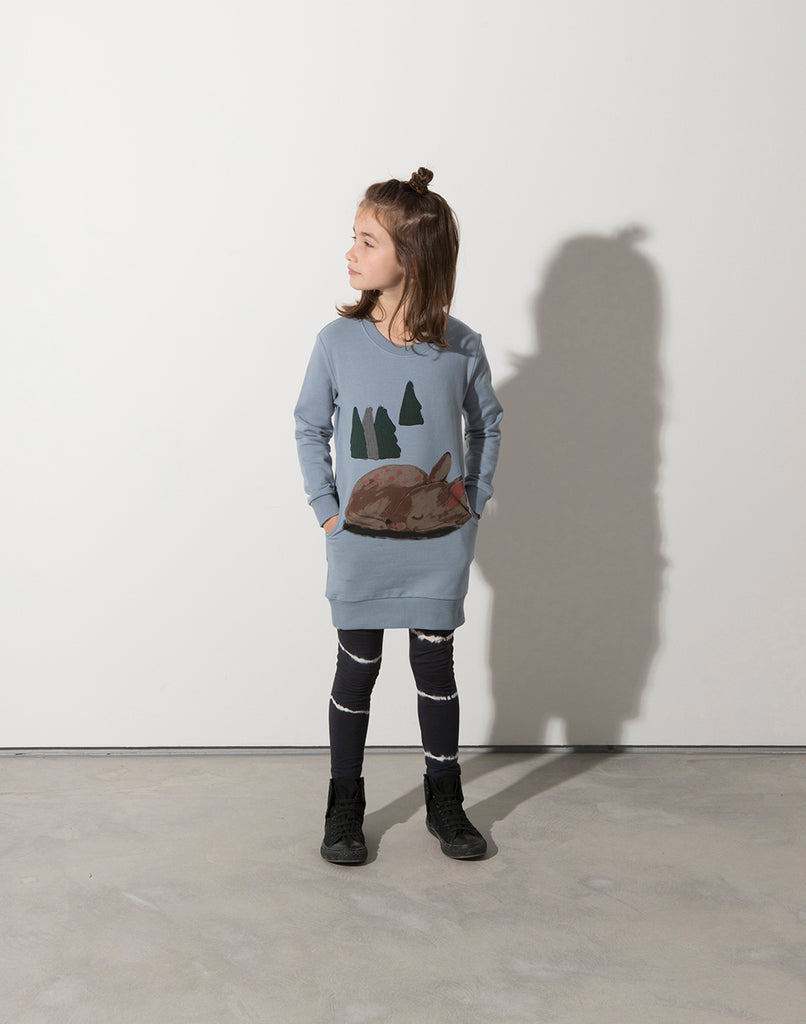 Minti Sleepy Deer Furry Crew Dress