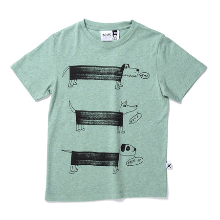 Minti Dog Pack Tee - Green Marle