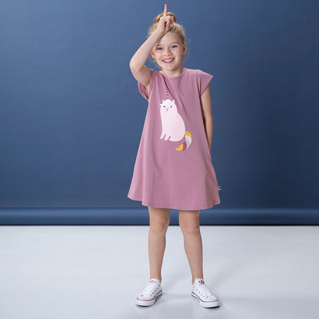 Littlehorn Uni-Cat Dress - Mauve