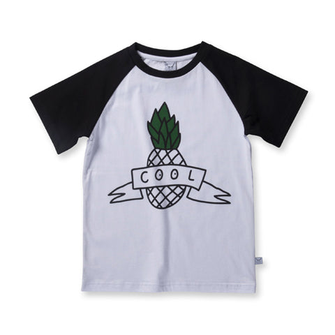 Littlehorn Cool Pineapple Raglan Tee - White/Black