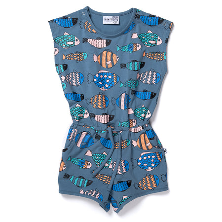 Minti Fish Life Playsuit - Muted Blue