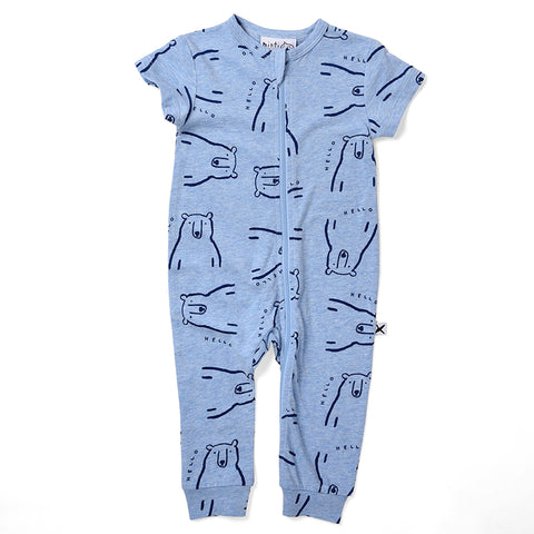 Minti Bear Party Crawler Suit - Blue Marle