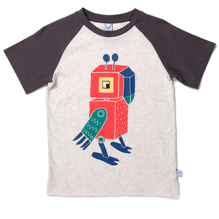 Littlehorn Robot Parrot Raglan Tee - Light Grey/Oil