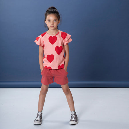 Littlehorn Hearts Tee - Dark Pink