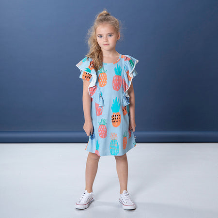 Littlehorn Colourful Pineapples Dress - Powder Blue