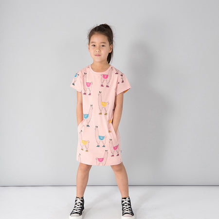 Minti Skating Llamas Dress - Blush
