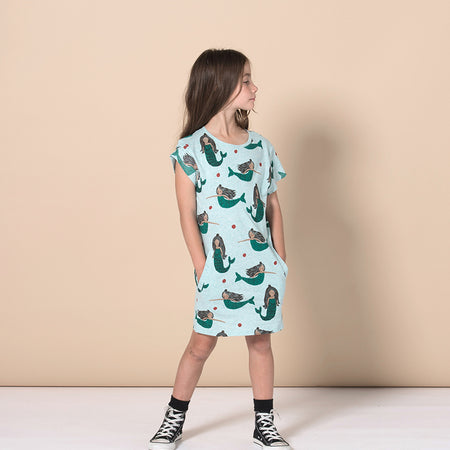 Minti Mermaid Party Dress - Green Marle