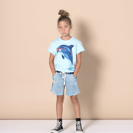 Minti Painted Dolphin Tee - Light Blue Stripe